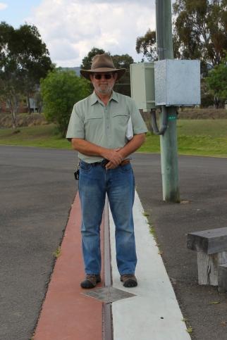 Wallangarra - Pete straddling the border (QLD)