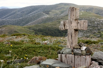 Cross Marking The Highest Accessible Sealed Road In Australia (Vic)