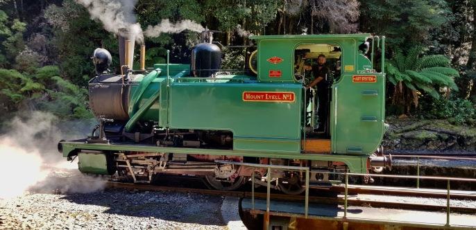 Queenstown - The West Coast Wilderness Railway - Locomotive Entering Turntable (Tas)